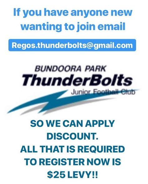 BPTJFC Bundoora Park Thunderbolts JFC New Members