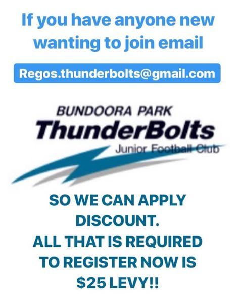 BPTJFC Bundoora Park Thunderbolts JFC New Members