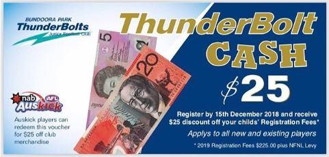 BPTJFC Bundoora Park ThunderBolts JFC Thunderbolt Cash